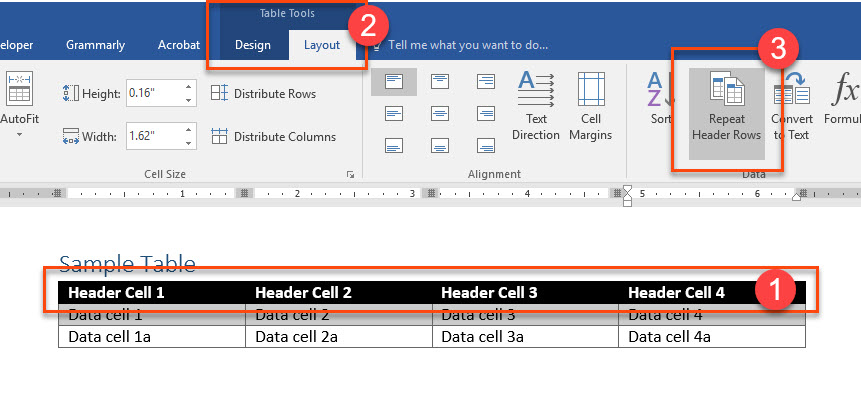Place the cursor in any header row cell, select the Table Tools Layout tab, and select the Repeat Header Rows tool.