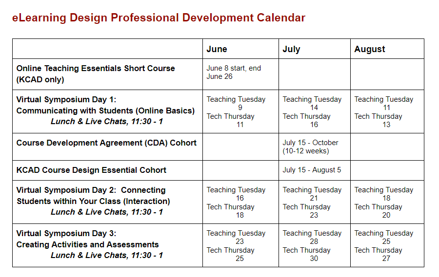 Summer2020_Calendar of PD for Ferris online design